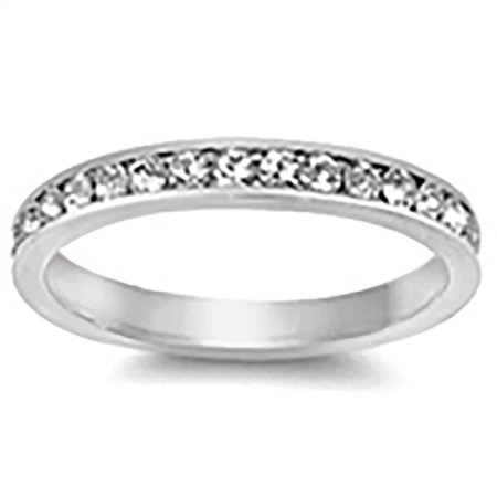 Lex & Lu 3mm .925 Sterling Silver CZ Eternity Comfort Fit Band Ring Size 5-9