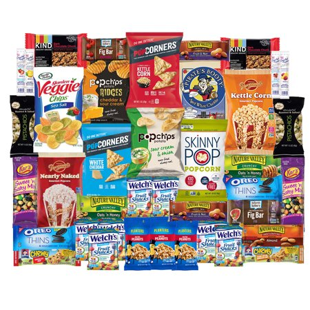 Healthy Snacks Care Package For College, Dorms, Military, Student, School, Camp, and Office | Gift Basket By SnackBOX  (40 Count) (American Gift Basket)