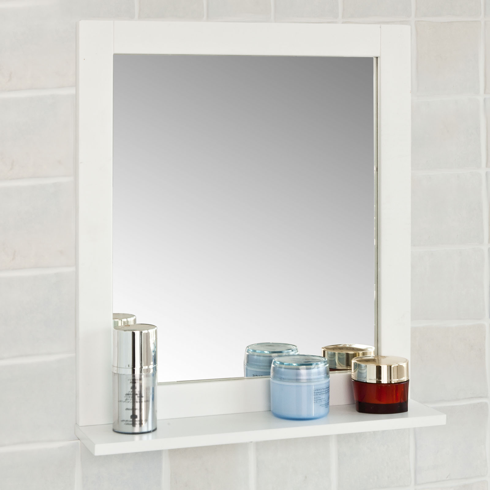 Haotian Wall Mounted Bathroom Mirror With Shelf,Bathroom Vanity Set, White  Under Sink Bathroom