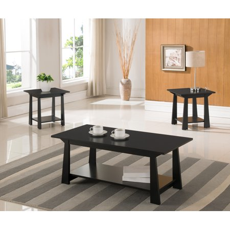 Sally 3 Piece Coffee Table Set, Black Wood, With Storage Shelves, Contemporary (Cocktail Coffee & 2 End Tables) ()