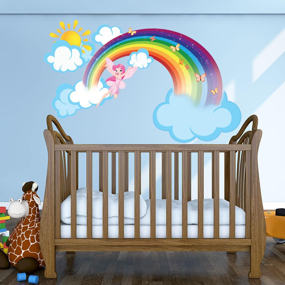 Rainbow Fairy Wall Decal with Clouds and Sun - girl's room wall sticker, kids good mural vinyl decor - DS 875 - 26in x 16in