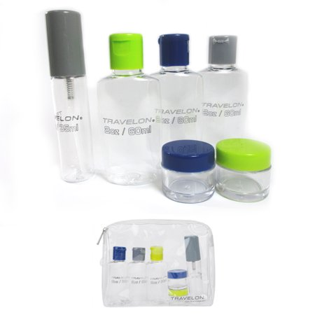 6 Piece Carry On Tsa Travel Bottles Set Plastic Empty Jar Storage Container Bag