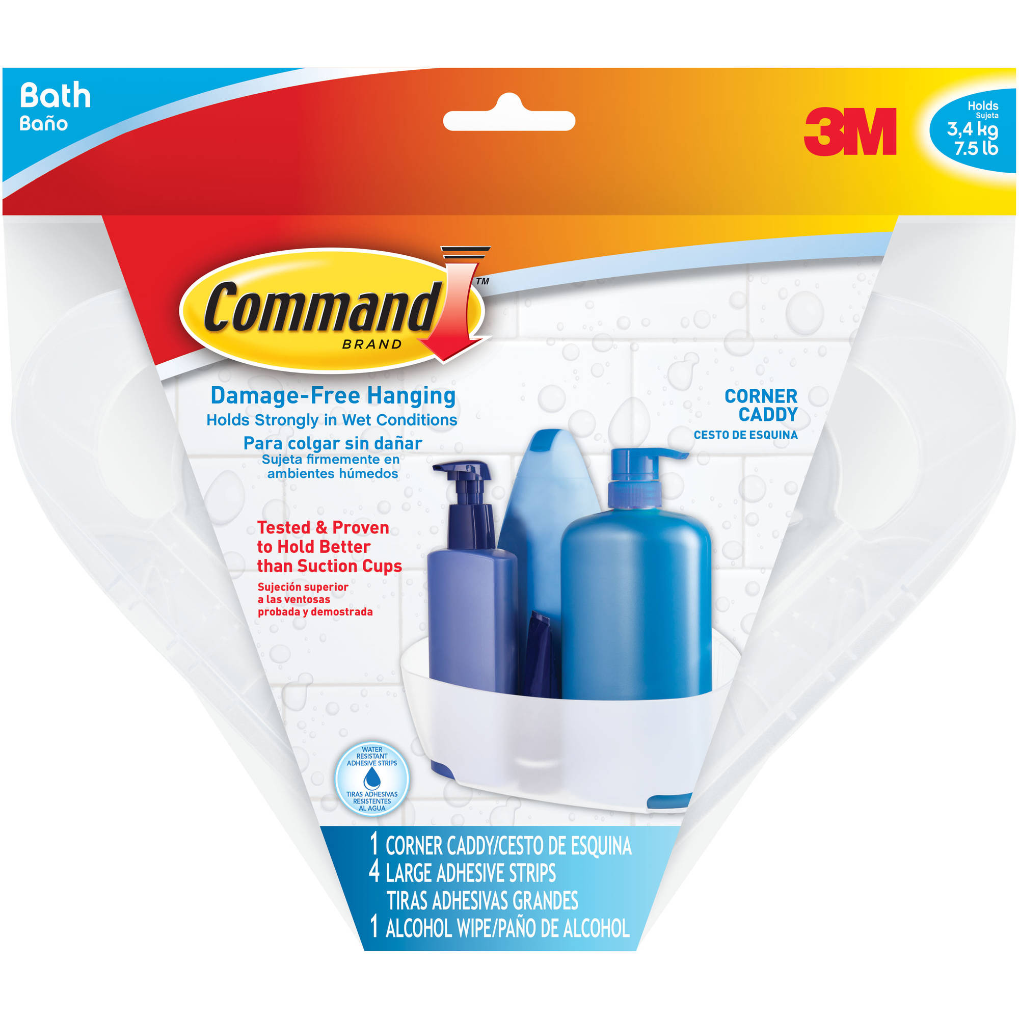 Command Shower Caddy, 1 Caddy, 4 Mounting bases, 4 Large Strips, BATH12