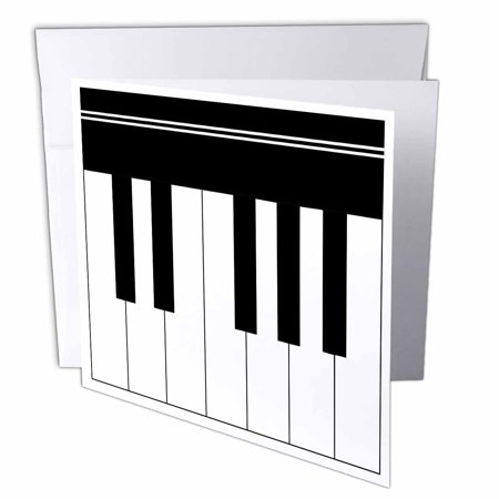 - 3dRose Piano keys - black and white keyboard musical design - pianist music player and musician gifts, Greeting Cards, 6 x 6 inches, set of 12