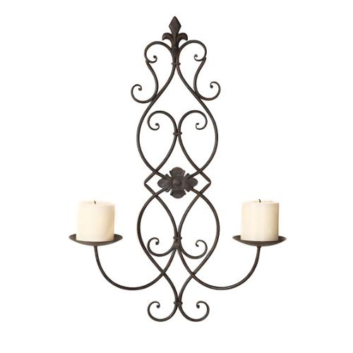 Adeco  Iron and Glass Vertical Wall Hanging Candle Holder...