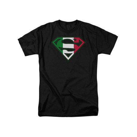 Italy Flag T-shirt - Superman DC Comics Italian Flag Shield Adult T-Shirt Tee