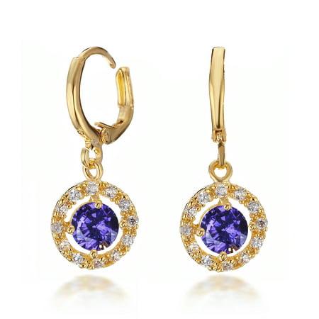 18k Gold Filled Hoop Earrings (Gemini Women's Jewelry 18K Gold Filled Cubic Zirconia & Created Amethyst Hoop Dangle Earrings Gm188 , Color: Amethyst )