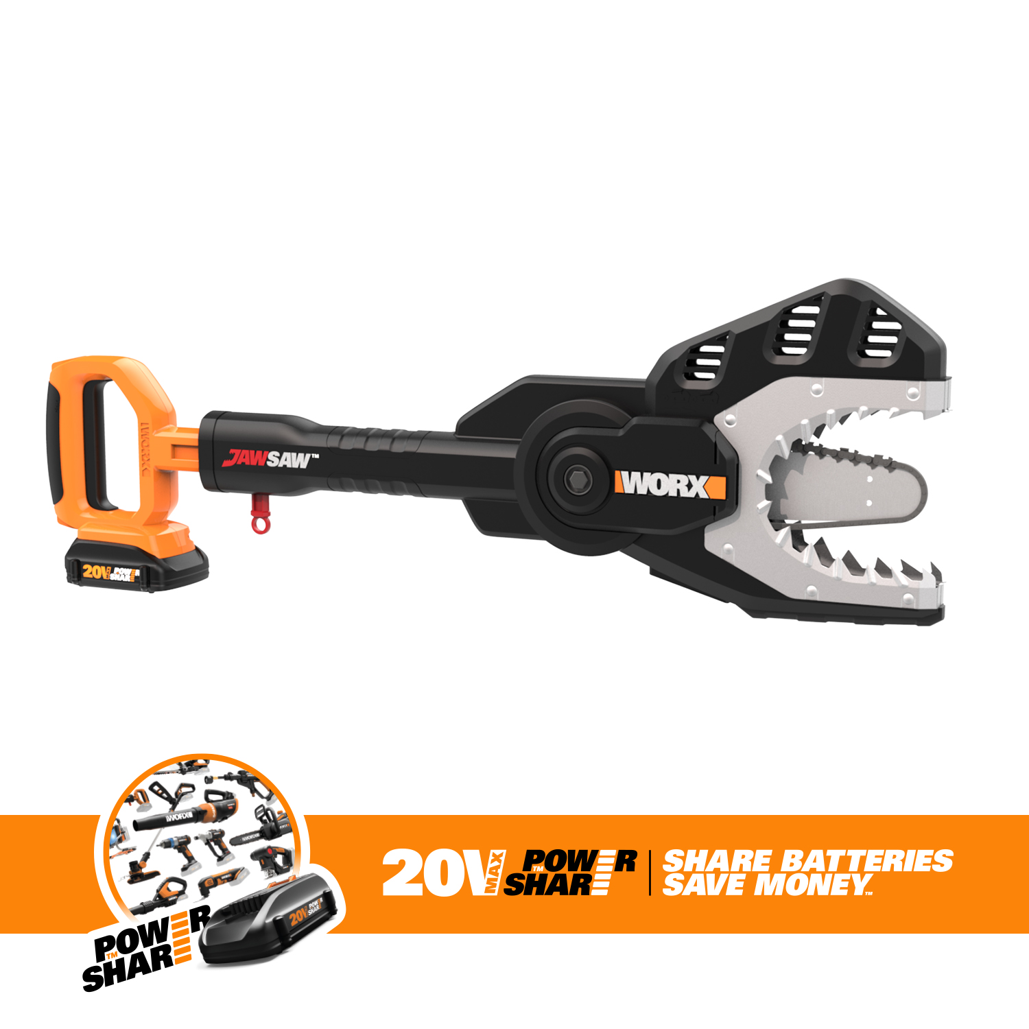 Worx WG320 6 in. 20V MaxLithium Cordless JawSaw Chainsaw by Positec Technology