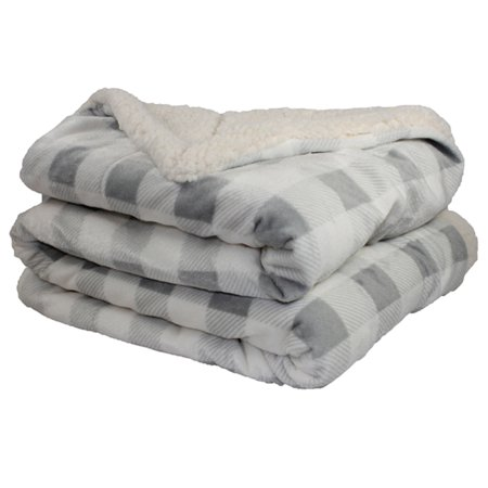 - Throw Blanket - Micro Mink and Lambswool Sherpa (Gray/Ivory Plaid)