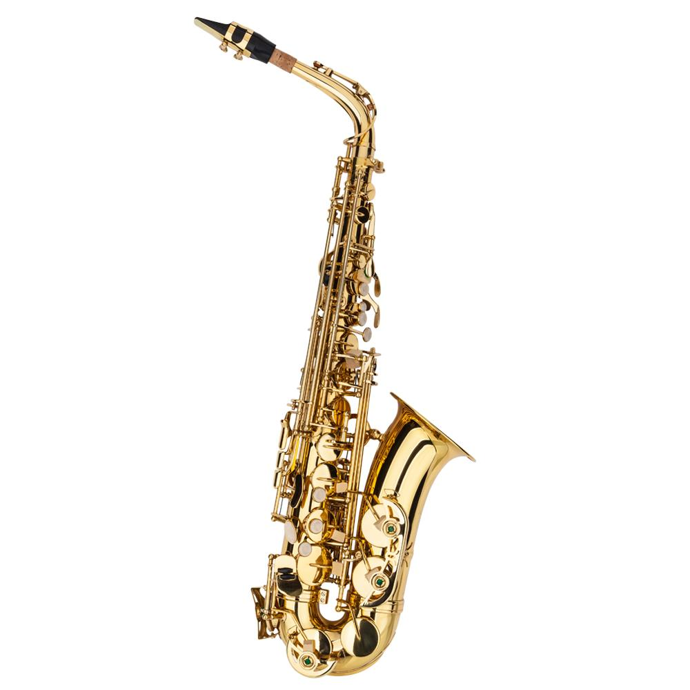 BEAUTIFUL GOLD COLOR HIGH SCHOOL BAND ALTO SAXOPHONE SAX OUTFIT NEW