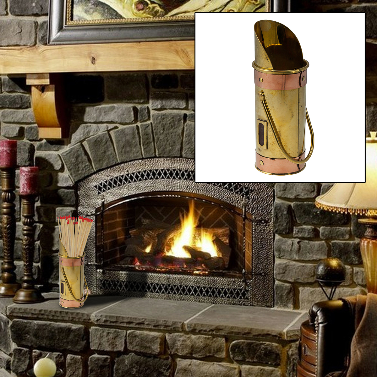 Polished Brass Match Holder Striker Copper Box Safety Long Fireplace  Decorative