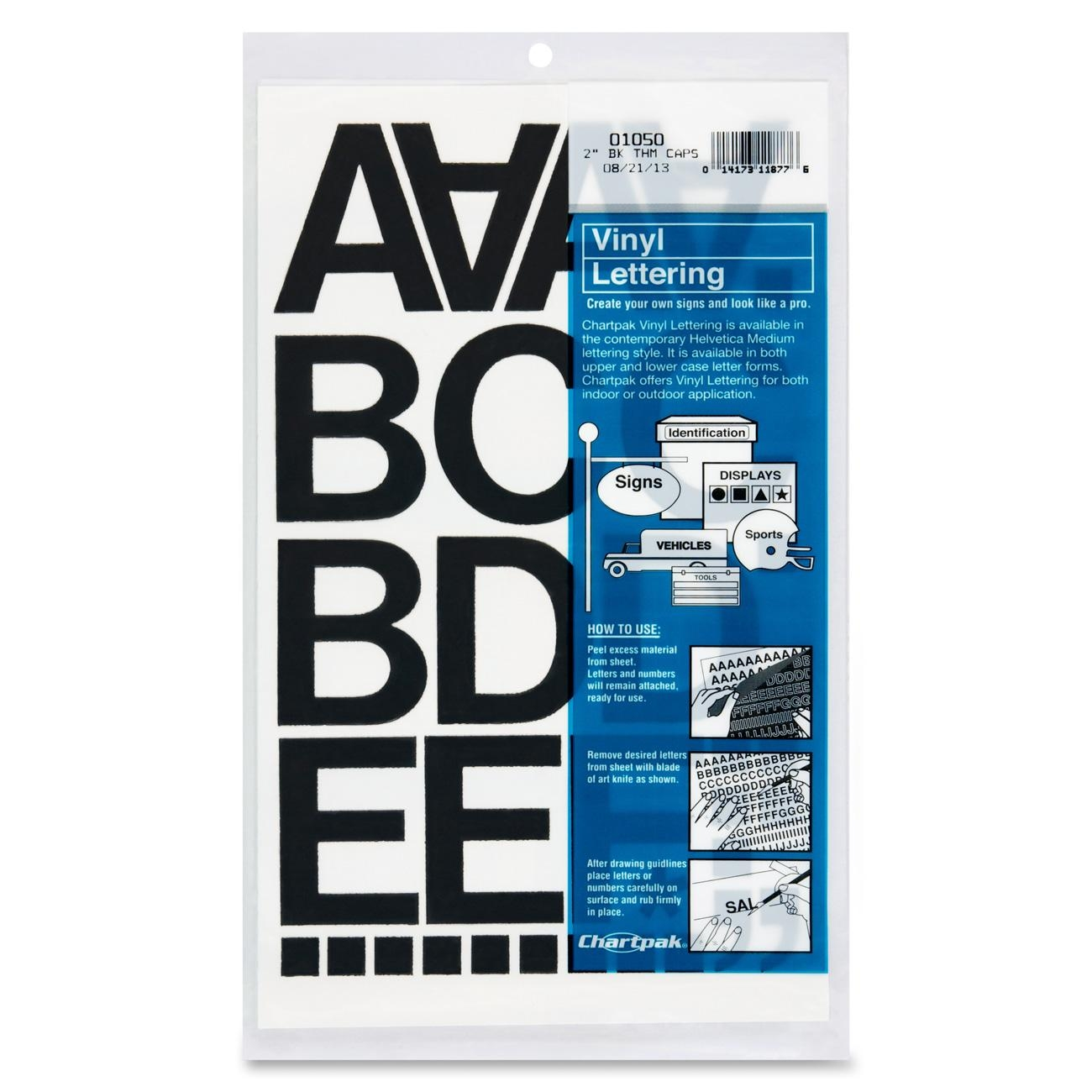 "Chartpak Vinyl Letters And Numbers - 10 Numbers, 67 Capital Letter - 2"" - Black (CHA01050)"