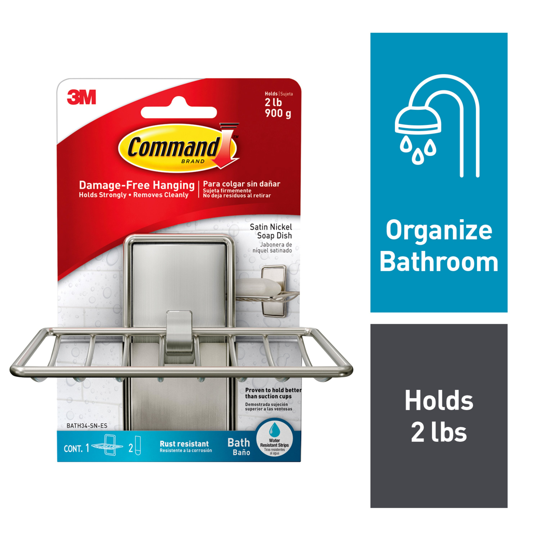 Command Soap Dish, Satin Nickel, 1 Soap Dish, 2 Medium Water-Resistant Strips/Pack