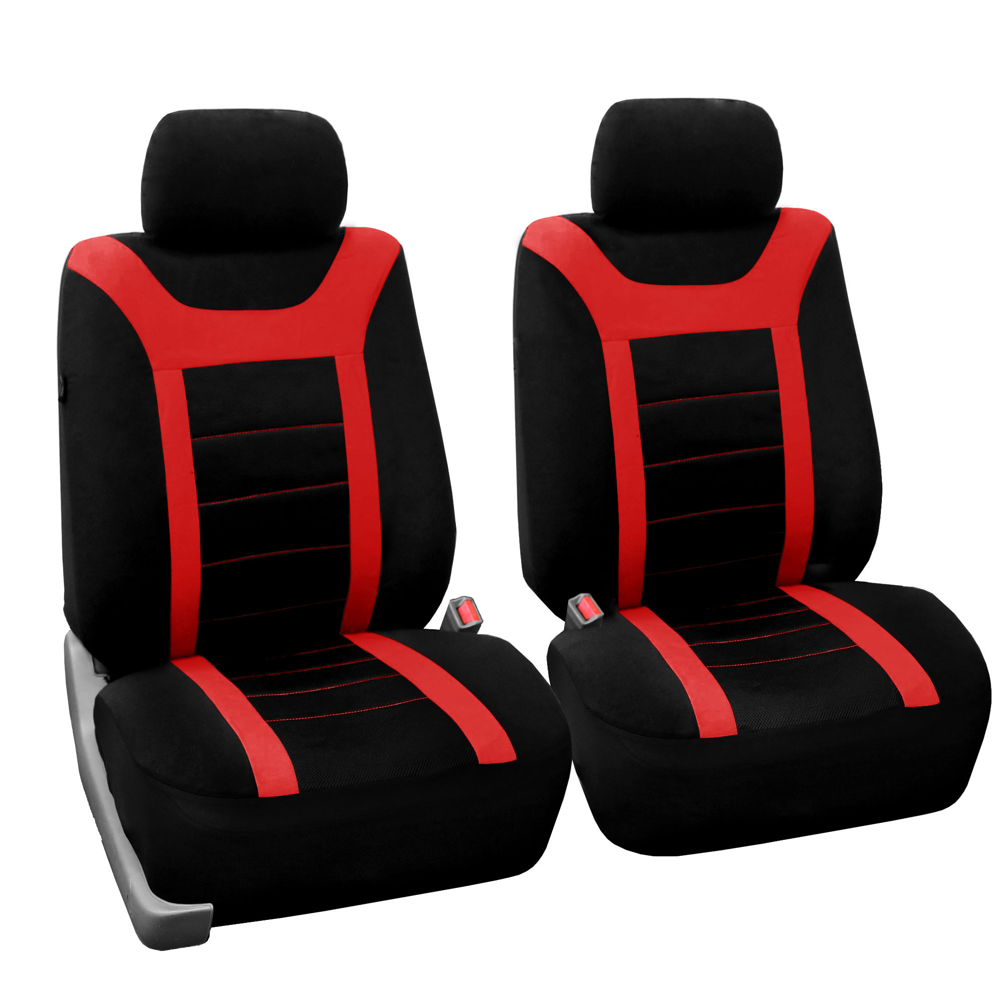 FH Group Red And Black Airbag Compatible Split Bench Sports Car Seat Cover Full Set