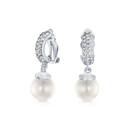 - Bridal White Round Freshwater Cultured Pearl Cubic Zirconia CZ Clip On Drop Ball Huggie Earrings Silver Plated Brass