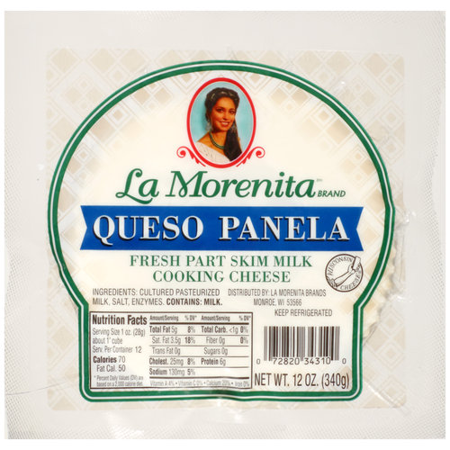 La Morenita Queso Panela Fresh Part Skim Milk Cooking Cheese, 12 oz