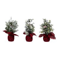 "Holiday Time Flocked Boxwood Tree with Red and Black Plaid Base Decorations, 10"", Set of 3"