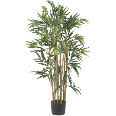 Bamboo Green (Nearly Natural 4-ft. Multi Bambusa Bamboo Silk Tree, Green )
