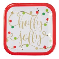 Jolly Christmas Paper Dinner Plates, 9in, 8ct