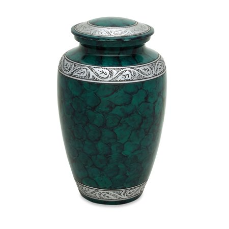 Greenwich Urn - Urnsdirect2u Cloudy Green Adult Cremation Urn, 10.5 inches tall