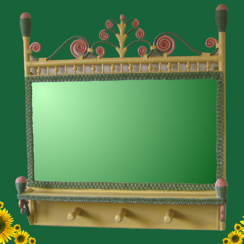 Yesteryear Wicker Victorian Coat Rack Mirror