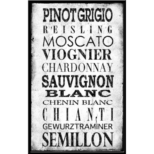 PTM IMages 337272 Wine Varieties Sign Black on White by PTM Images