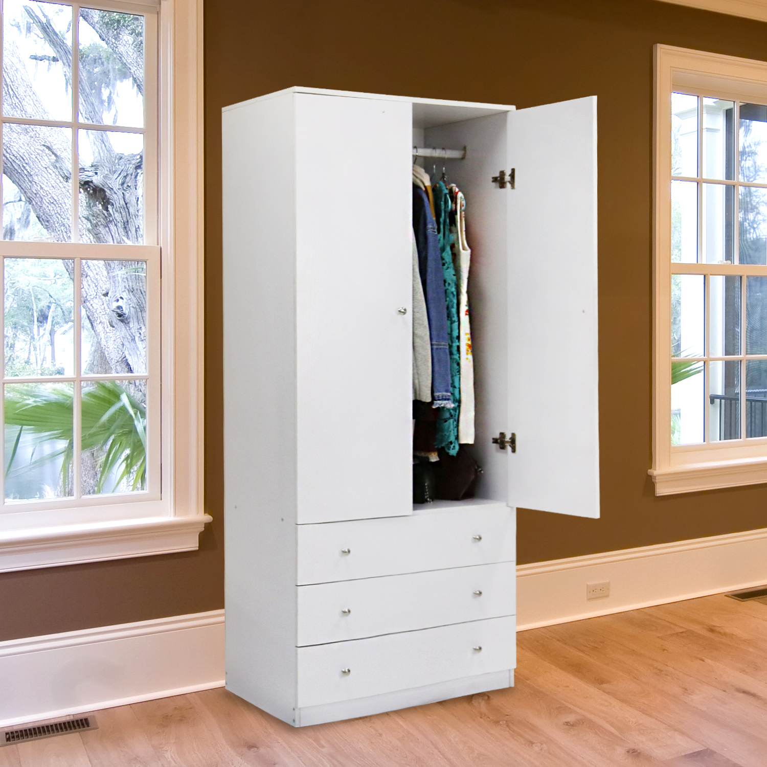 Kinbor Two Door Wardrobe Cabinet Armoire, with Three Drawers, and Hanging Rod, White