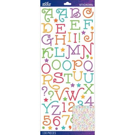 Sticko Alphabet Stickers-Multi Gasoline Alley Glitter - Large Alphabet Stickers