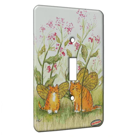 KuzmarK™ Single Gang Toggle Switch Wall Plate - Tiny Tiger Kitty Fairies with Pink Flowers Fantasy Cat Art by Denise Every - Kitty's Flowers