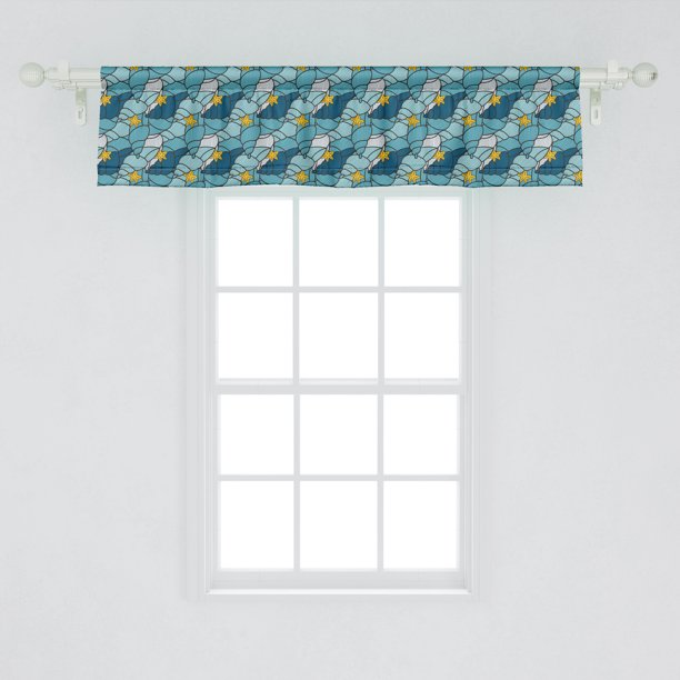 Ambesonne Nautical Window Valance Pattern Of Seashells And Starfish Curtain Valance For Kitchen Bedroom Decor With Rod Pocket 54 X 12 Sea Blue Earth Yellow Walmart Com