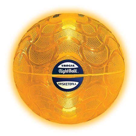 NightBall Glow in the Dark Light Up LED Basketball, Orange, Made from BPA-free, latex-free, phthalate-free, non-toxic TPR material By Tangle