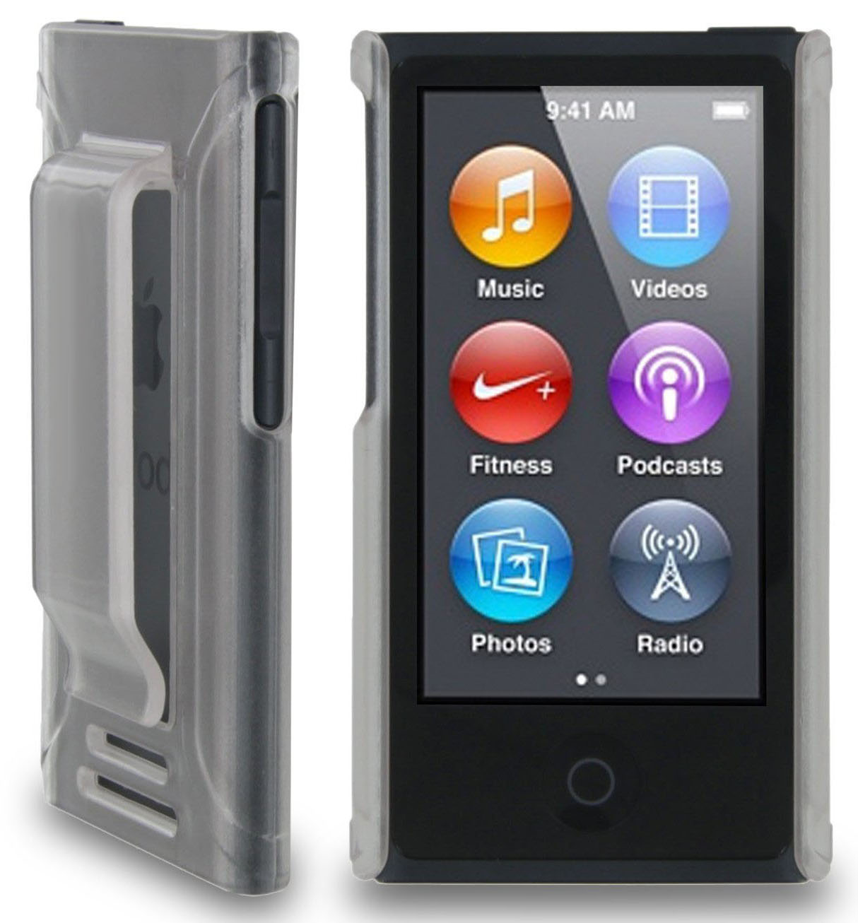 CLEAR FROST HARD CASE COVER WITH BELT CLIP HOLSTER FOR APPLE iPOD NANO 7 7th 8th GEN GENERATION