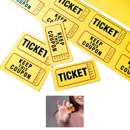 1000 Pc 50/50 Double Stub Raffle Tickets Split Coupon Entry Fair Party Yellow
