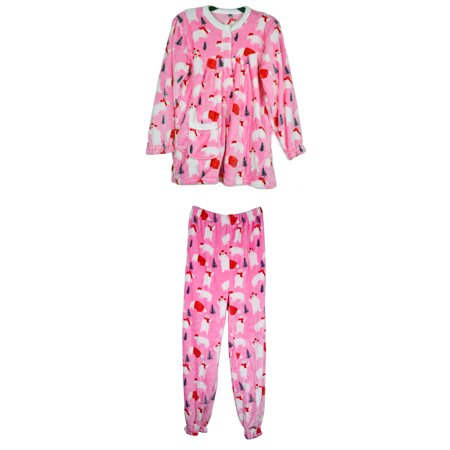3297ae655d PTL Fashion Women s Plush Super Soft Cozy Winter Holiday Printed Pajama PJ  Set Including Long Sleeve Top and Pant Bottom One Size Fits Most Pink Polar  Bear ...