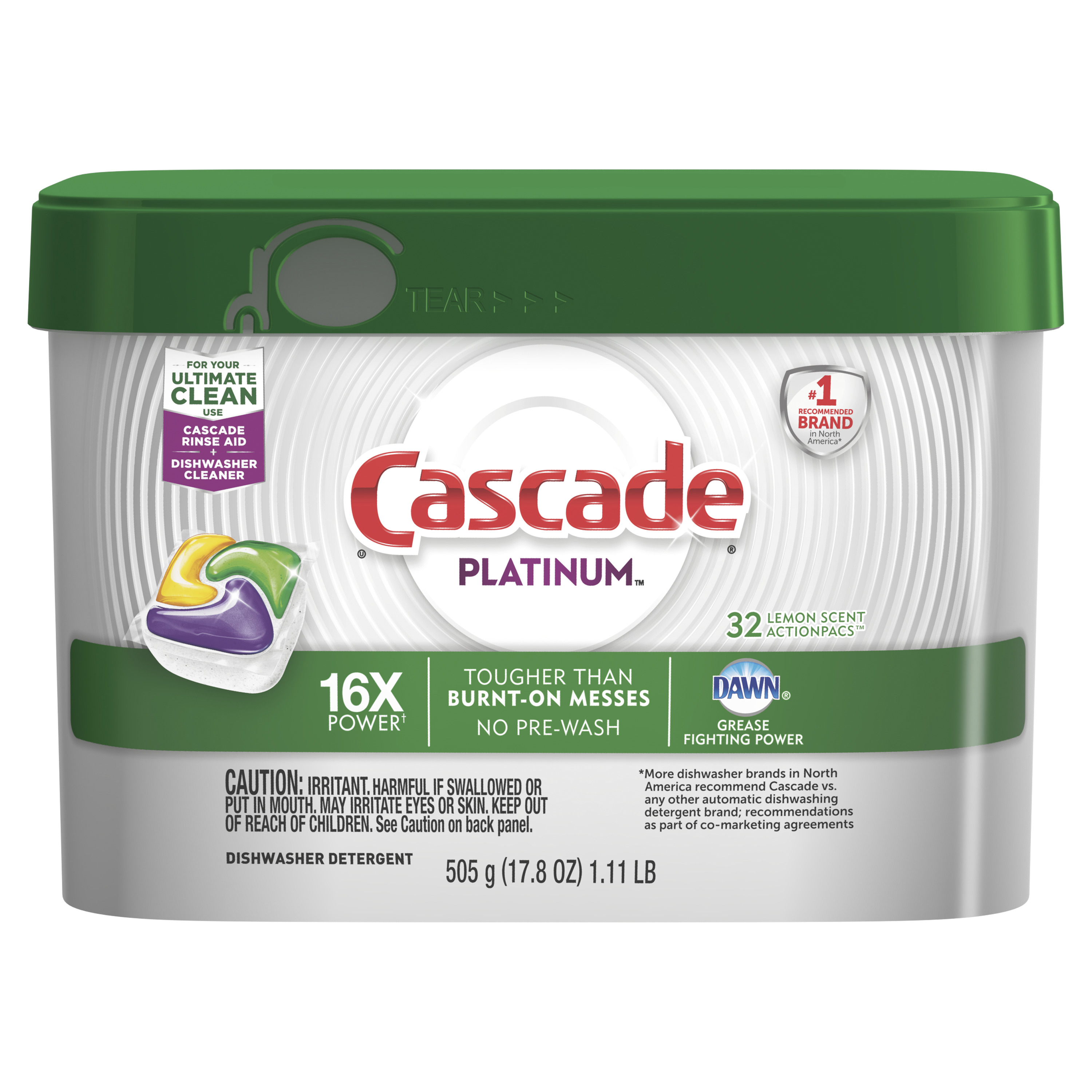 Cascade Platinum ActionPacs Dishwasher Detergent, Lemon, 32 count