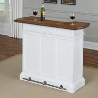 Home Styles Americana 4-Shelf Bar with Footrail, White and Brown Finish