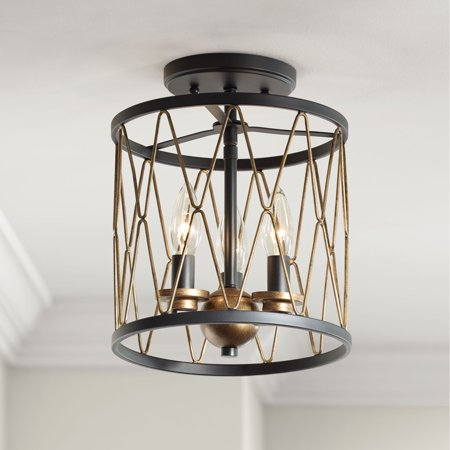 "Regency Hill Semi Flush Mount Ceiling Light Fixture Matte Black Gold 9"" Wide 3-Light Open Cage for Bedroom Kitchen Living Room"