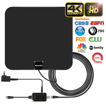 [NEWEST 2019] Amplified HD Digital TV Antenna with Long 60 Miles Range – Support 4K 1080p & All Older TV's for Indoor with Powerful HDTV Amplifier Signal Booster - 12ft Coax