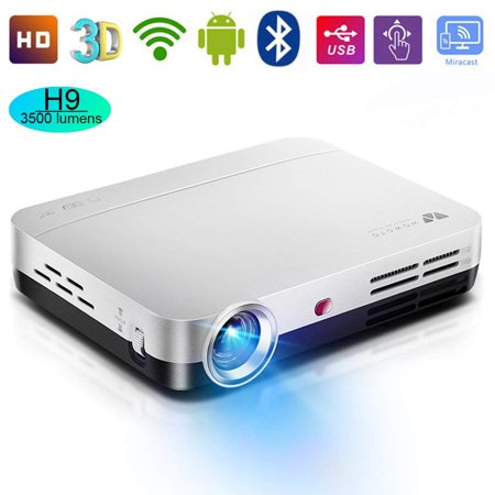 WOWOTO H9 Video Projector, 3500 lumens 3D DLP Projector 1280x800 Support 1080P Full HD , Android 4.4 OS , with Keystone, HDMI, WIFI &
