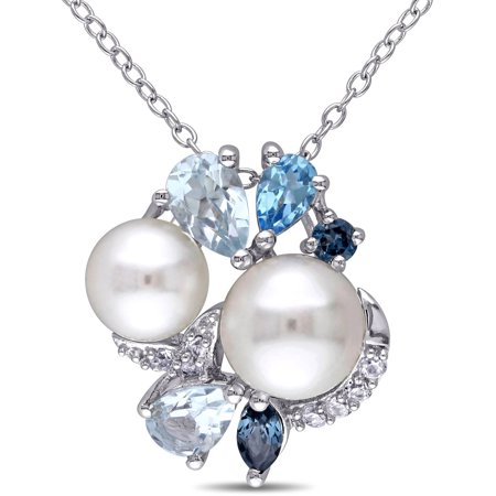 (6.5-7mm), (7.5-8mm) White Round Cultured Freshwater Pearl with 1-3/4 Carat Created White Sapphire, Sky, London and Swiss Blue Topaz Sterling Silver Multi-Stone Fashion Pendant, (Soy Pearl)