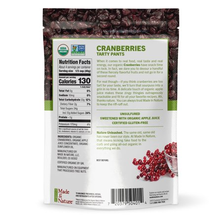 Made in Nature Organic Dried Cranberries, 5 oz