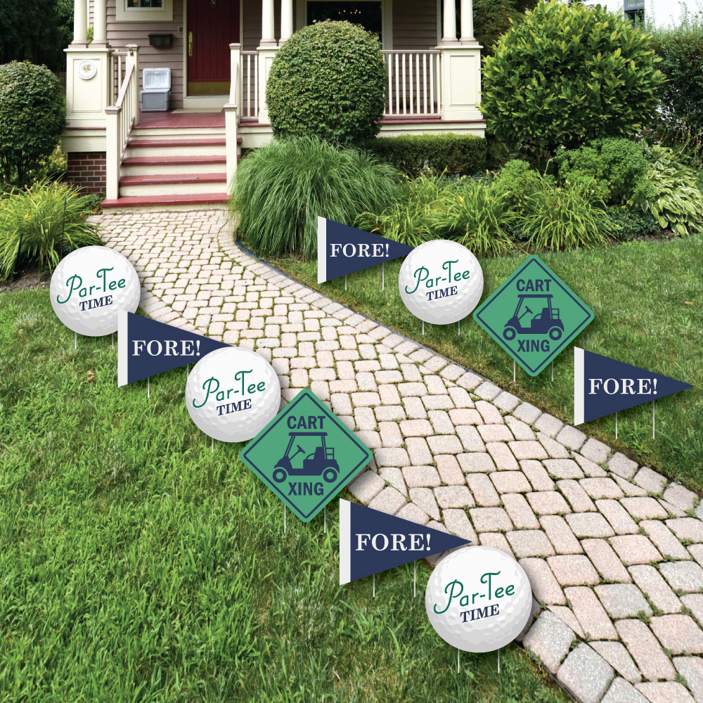 Par-Tee Time - Golf Lawn Decorations - Outdoor Birthday or Retirement Party Yard Decorations - 10 Piece