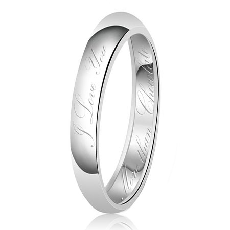 Chocolate Wedding Ring (3mm I Love You More than Chocolate Engraved Classic Sterling Silver Plain Wedding Band)
