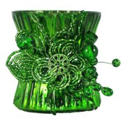 """Set of 2 Emerald Green Mercury Glass Votive Candle Holders with Beaded Clusters 3.5"""""""