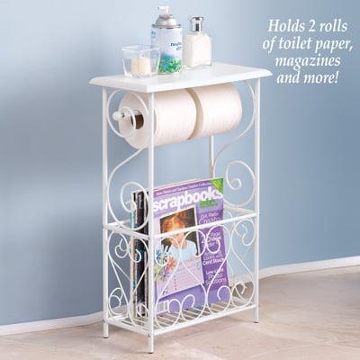 Bathroom Toilet Paper Holder Storage Magazine Basket Table ()