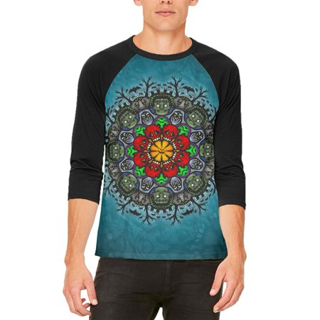 Halloween Classic Movie Monster Mandala Mens Raglan T Shirt - Coloriage Mandalas Halloween