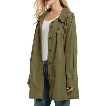 Newstar Army Green Raincoats for Women, Long Sleeve Waterproof Rain Coat Jackets for Women, N0289AGS Active Outwear Tos Coats,