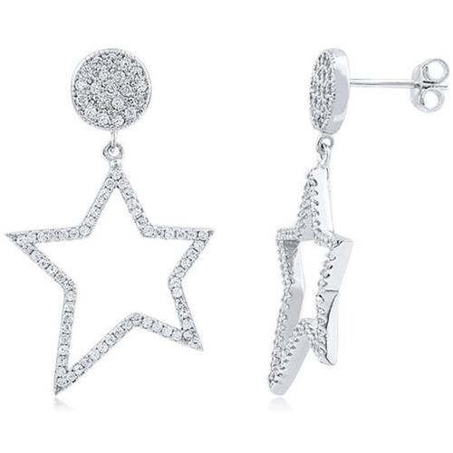 Doma Jewellery SSEZ842 Sterling Silver Earrings With CZ. Star, 4.7 g.