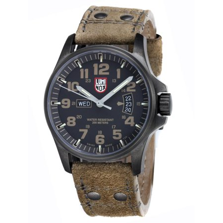 a01d8de4a Luminox - 1833 Men's Field Day-Date Black Dial Khaki Leather Strap Watch -  Walmart.com