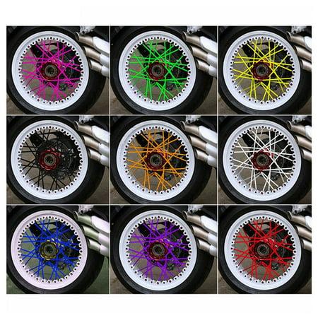 (INNOVEE 72 PCS Steel Wire Set Wheel Spoke Wraps Skins Trim Cover Pipe for Motorcycle Bike)